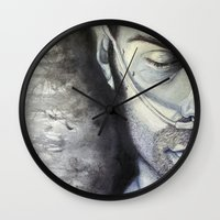 sam winchester Wall Clocks featuring Sam Winchester by Amanda Kontakos