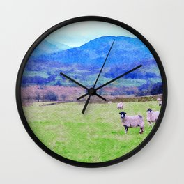 Nosy Sheep at Borrowdale, Lake District, UK Watercolor Painting Wall Clock