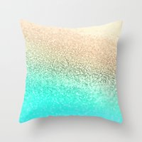 aqua Throw Pillows featuring GOLD AQUA by Monika Strigel