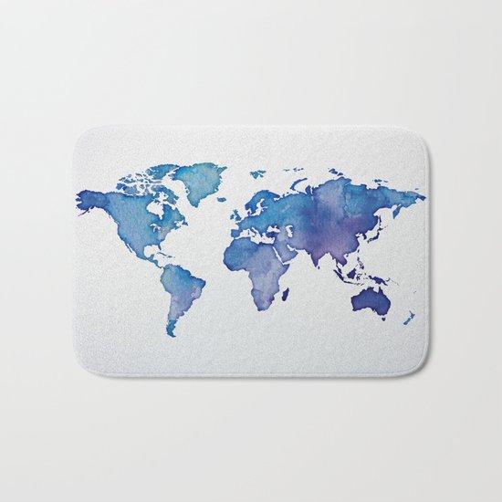 Blue World Map 02 Bath Mat