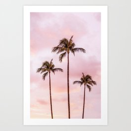 Palm Tree Photography | Landscape | Sunset Unicorn Clouds | Blush Millennial Pink Art Print