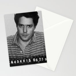 Painting of Hugh Grant Mug Shot 1995 Black And White Mugshot Stationery Cards
