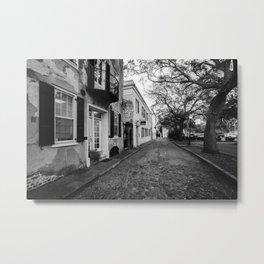 Cobblestone Charleston B&W Metal Print
