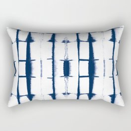 Shibori Stripes 4 Indigo Blue Rectangular Pillow