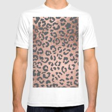 Modern charcoal grey rose gold leopard pattern MEDIUM Mens Fitted Tee White
