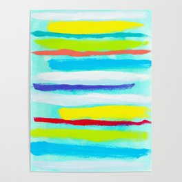 Ocean Blue Summer blue abstract painting stripes pattern beach tropical holiday california hawaii Poster