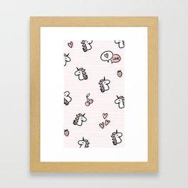 Cherry Unicorn Pink Framed Art Print