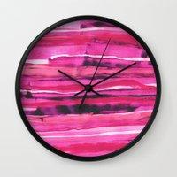 georgiana paraschiv Wall Clocks featuring Stack III by Georgiana Paraschiv