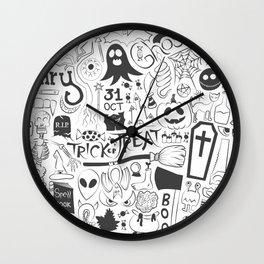 Halloween Doodles (Black) Wall Clock