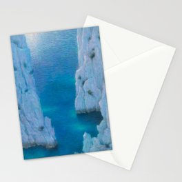 La Calanque Turquoise Blue Ocean & Limestone Cliffs by Lucien Levy-Dhurmer Stationery Cards