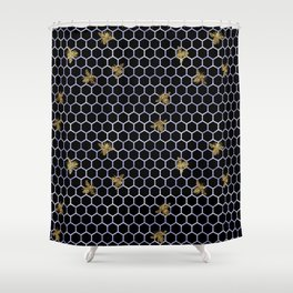 gold bees Shower Curtain