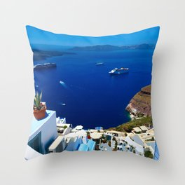 Santorini Caldera Throw Pillow
