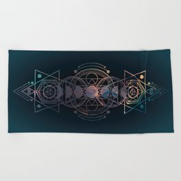 Dark Moon Phase Nebula Totem Beach Towel