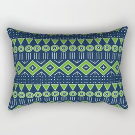 Mudcloth Style 2 in Navy with Lime Green Rectangular Pillow