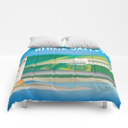 Rhine Valley, Germany - Skyline Illustration by Loose Petals Comforters