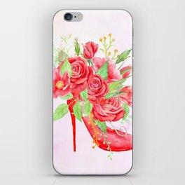 Watercolor Red Rose Shoe iPhone Skin
