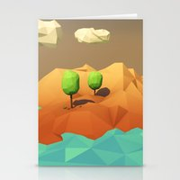 low poly Stationery Cards featuring Low Poly Landscape by error23
