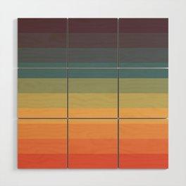 Colorful Retro Striped Rainbow Wood Wall Art