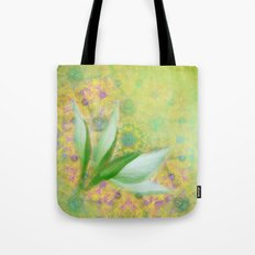 Bauhinia buds against textured green background Tote Bag
