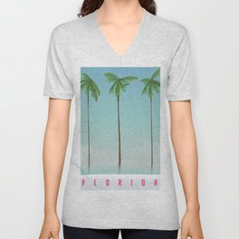 Florida Palms travel poster, Unisex V-Neck