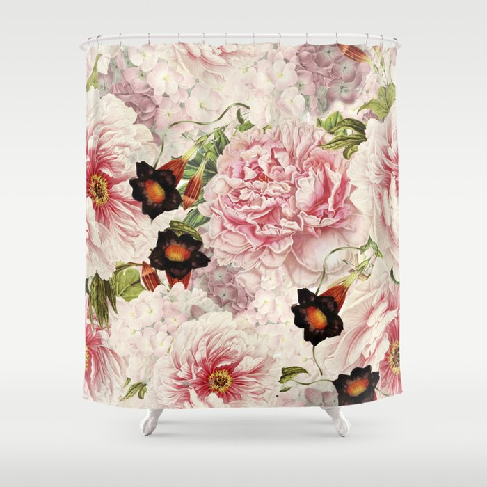 Vintage Shabby Chic Pink Floral Peonies Flowers Watercolor Pattern Shower Curtain