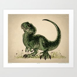 """Baby T-Rex"" by Amber Marine ~ watercolor and ink, (Copyright 2013) Art Print"