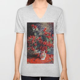 Claude Monet ''Chrysanthèmes rouges'' Unisex V-Neck