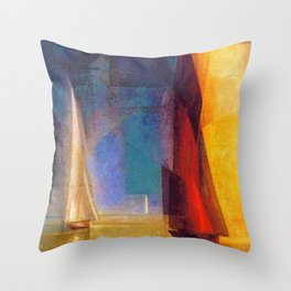 Classical Masterpiece 'Stiller Tag am Meer III' by Lyonel Feininger Throw Pillow
