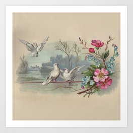 Vintage White Forest Birds Art Print