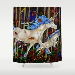 A Romp in the Autumn Dusk Shower Curtain