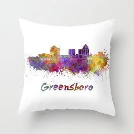Greensboro skyline in watercolor Throw Pillow