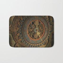 Steampunk, awesome clock, rusty metal Bath Mat