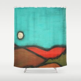 Moonrise // Mountain Moon Abstract Nature Landscape Turquoise Sky California Minimal Vibrant Bright Shower Curtain