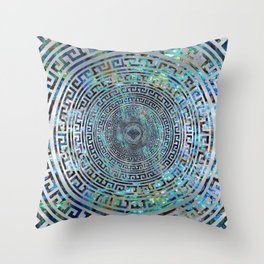 Circular Greek Meander Pattern - Greek Key Ornament Throw Pillow