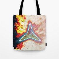 big bang Tote Bags featuring Big Bang by Helle Gade