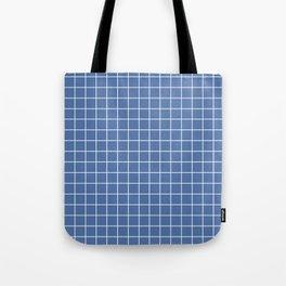 Blue yonder - blue color - White Lines Grid Pattern Tote Bag