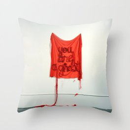 You Are A Ghost, The Unravel, Silk Graffiti by Aubrie Costello Throw Pillow