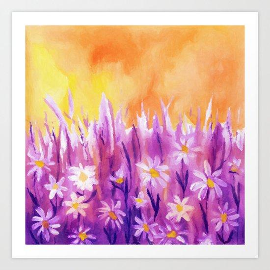 White flowers fantasy Art Print