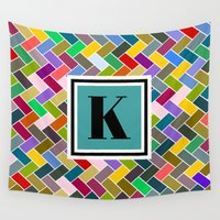 monogram Wall Tapestries featuring K Monogram by mailboxdisco