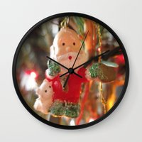 santa Wall Clocks featuring Santa by lillianhibiscus