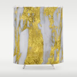 Whipped Cream Marble with 24-Karat Gold Veins Shower Curtain