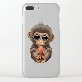 Cute Baby Monkey Playing With Basketball Clear iPhone Case