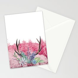 Floral stag antlers Stationery Cards