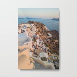 Grecian Sunset in Santorini, Greece Metal Print