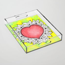 Watercolor Doodle Art | Heart Acrylic Tray