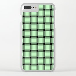 Small Light Green Weave Clear iPhone Case