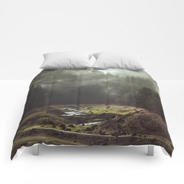 Foggy Forest Creek Comforters