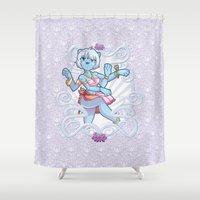 furry Shower Curtains featuring Furry Shiva by Kurara Himura