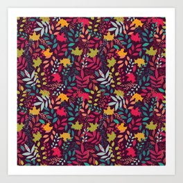 Autumn seamless pattern with floral decorative elements, colorful design Art Print