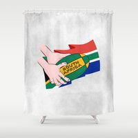 rugby Shower Curtains featuring South Africa Rugby by mailboxdisco
